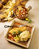 Breaded Fish Fillet with Mashed Potatoes; Chips and Salsa