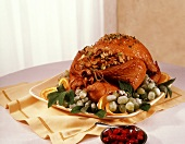 Whole Roast Turkey with Walnut Stuffing and Sugared Fruit