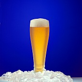 Glass of Cold Lager on Ice