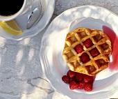 Belgian Waffle with Fresh Raspberries