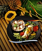 Scallop Seviche and Chicken Breast with Tropical Fruit