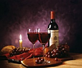 Two Glasses of Red Wine by Candlelight