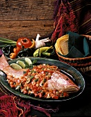 Whole Red Snapper with Salsa and Tortillas
