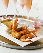 Coconut Shrimp with Champagne on a Tray