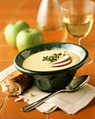 Apple Cheddar soup with baguette; white wine