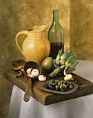 Artichoke, Olives, Wine and Pitcher