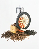 Different Types of Coffee Beans with Grinder