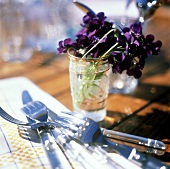 Violets in a Glass of Water; Utensils
