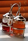 Antique Jam Server; Orange Marmalade and Strawberry Jam