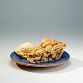 Slice of Apple Pie with Scoop of Vanilla Ice Cream