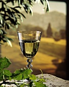 A Glass of White Wine with Italian Scenery
