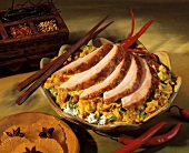 Sliced Turkey Breast over Curried Rice