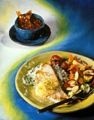 Sea Bass over White Rice with Vegetables