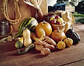 Assorted Autumn Ingredients at a Fram Stand