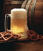Mug of Beer with Pretzels