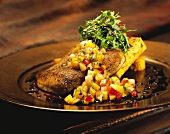 Cajun Mahi Tuna with Fried Polenta and Fruit Relish