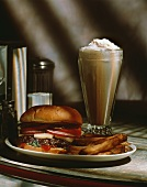 Cheeseburger with Fries and a Chocolate Milkshake