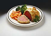 Beef Wellington with Baby Carrots and Broccoli