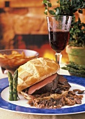 Venison Wellington with Asparagus and Red Wine