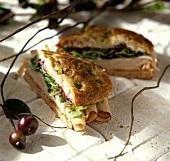 Turkey Sandwich with Cranberry Sauce on Focaccia