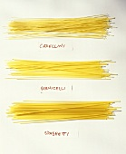 Capellini, Vermicelli und Spaghetti