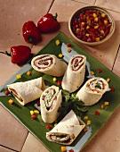 Mexican Pinwheel Wraps with Salsa