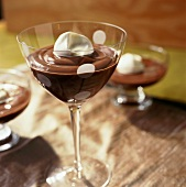 Chocolate Pudding in a Stem Glass with Whipped Cream