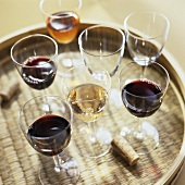 Glasses of Red and White Wine on a Serving Tray