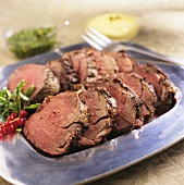 A Platter of Sliced Beef Tenderloin