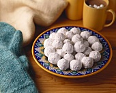 Snowball Cookies with Icing Sugar; Hot Chocolate