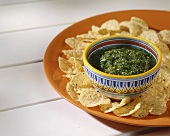 Tomatillo Salsa with Tortilla Chips
