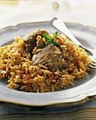 Chicken Thigh on Spanish Rice