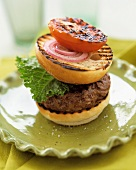 Grilled Hamburger with Grilled Roll and Tomato