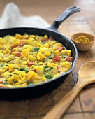 Vegetarian Dish with Cumin in a Skillet