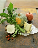 Still Life with Pomegranate, Coconut, Arugula, Pumpkin and Cheese