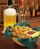 Fried Shrimp in a Basket with Beer