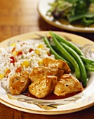 Chicken and Orange Sauce with Green Beans and Rice