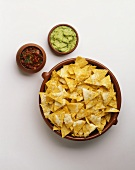 A Bowl of Tortilla Chips with Salsa & Guacamole