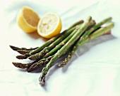 Asparagus Spears and Lemon Halves