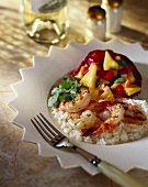 Grilled Shrimp on Rice with Pineapple Salsa