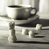 White Coffee Cup with Stack of Sugar Cubes