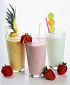 Pineapple, Strawberry and Melon Yogurt Smoothies