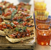 Antipasto di bruschette (Tomato and basil bruschetta)