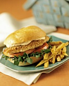 Chicken Filet Sandwich on a Hard Roll with Tomatoes, Watercress and French Fries