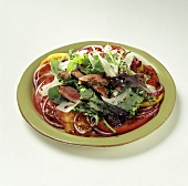 Flank Steak on a Salad with Tomatoes