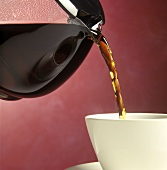 Coffee Pouring from a Pot into a Cup