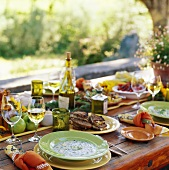 Outdoor Table setting with a Vegetarian Meal
