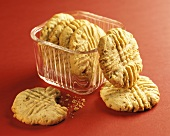 Peanut Butter Cookies: Some In, Some Out of Glass Dish