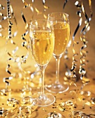Two Glasses of Champagne with Decorations