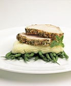 Sliced Pork Loin on Mashed Potatoes and Green Beans